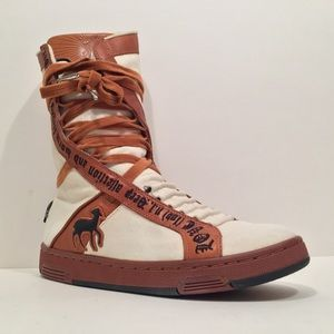 L.A.M.B. cream & brown canvas love sneaker boot